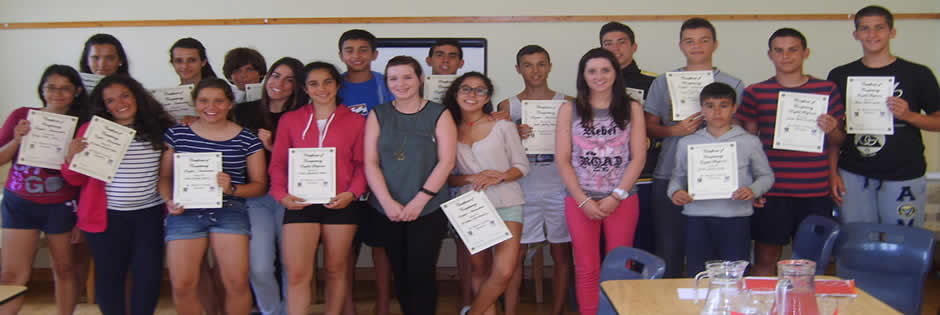 Students receiving language certificates at Benwiskin Centre