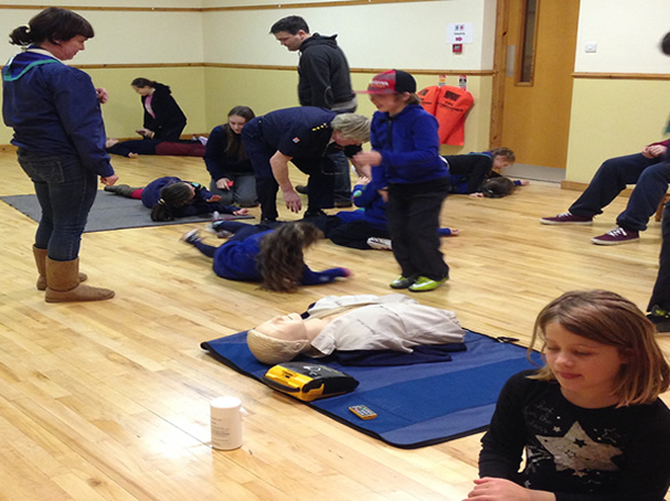Scouts practicing First Aid